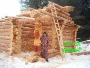 Изготовление срубов домов и бань ручной рубки.