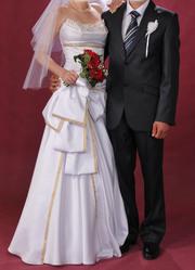 """Свадебное платье  """"Арабский бант """" от Т.Шароновой, р. 44-46, белое."""